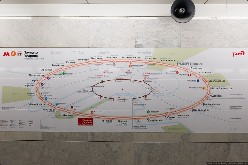 Схема кольца на станции «Площадь Гагарина»