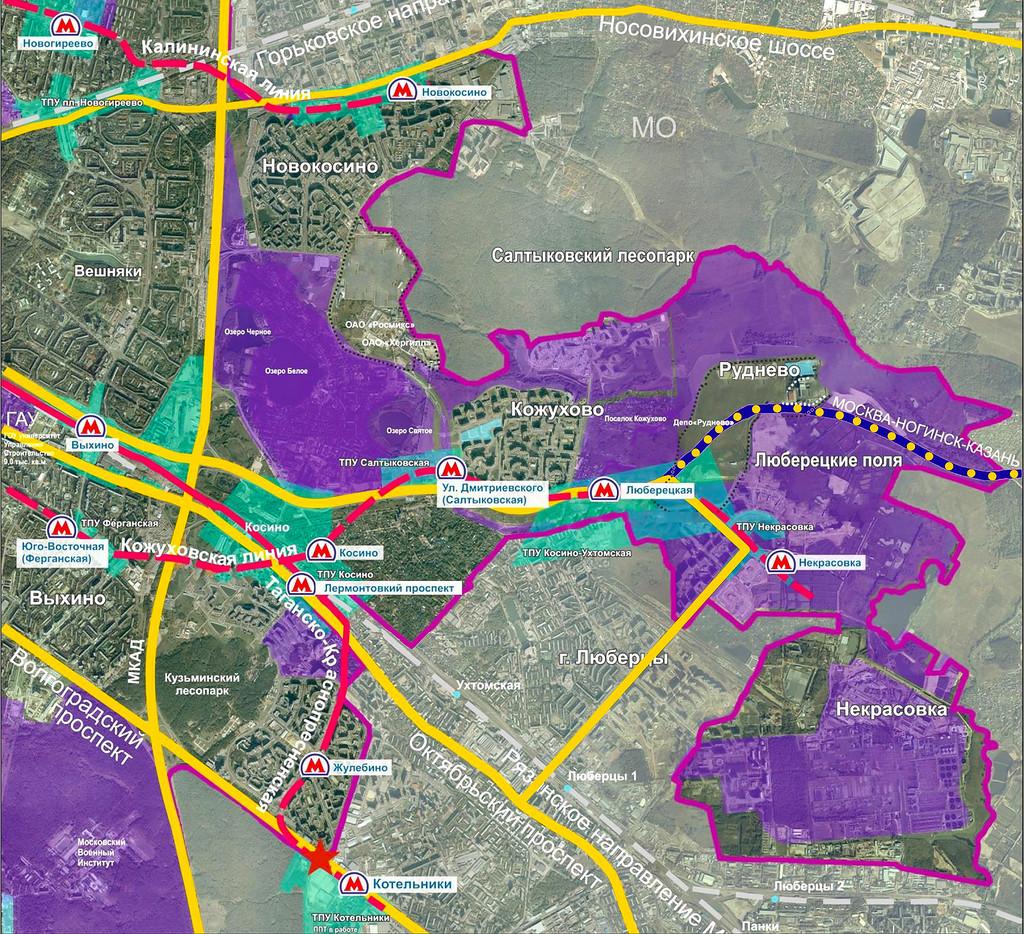 Основные транспортные узлы на юго-востоке Москвы